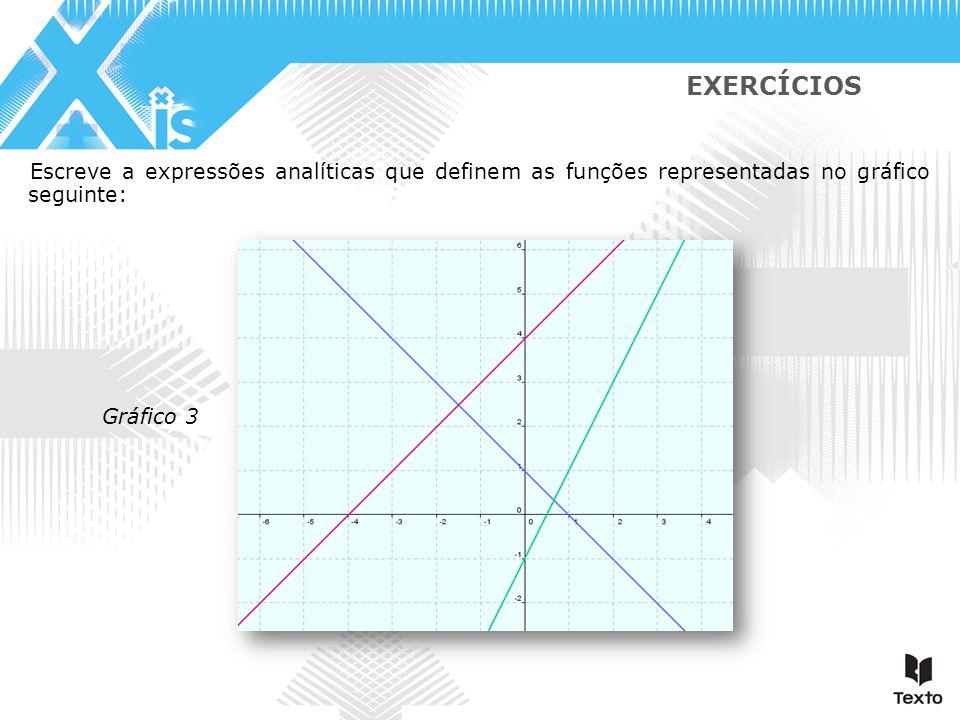 Gráfico 3 EXERCÍCIOS Escreve a expressões analíticas que definem as funções representadas no gráfico seguinte: