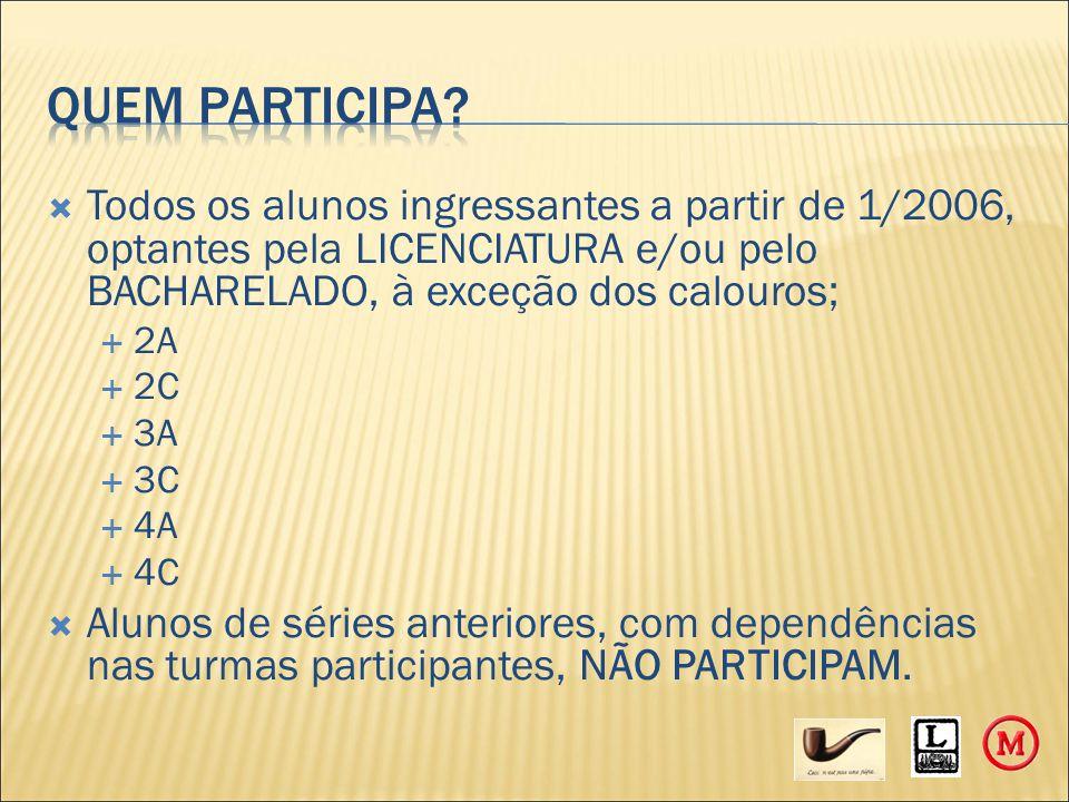  Todos os alunos ingressantes a partir de 1/2006, optantes pela LICENCIATURA e/ou pelo BACHARELADO, à exceção dos calouros;  2A  2C  3A  3C  4A  4C  Alunos de séries anteriores, com dependências nas turmas participantes, NÃO PARTICIPAM.
