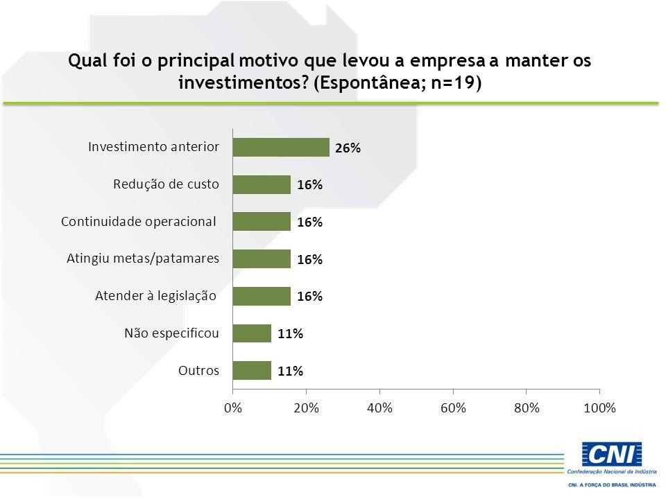 Qual foi o principal motivo que levou a empresa a manter os investimentos? (Espontânea; n=19)