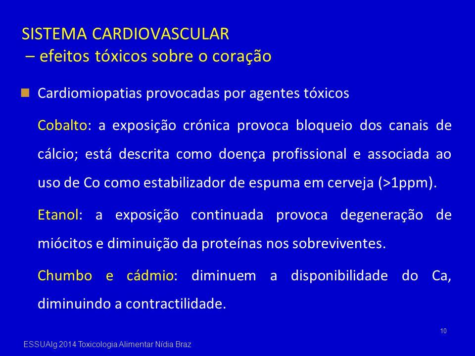 SISTEMA CARDIOVASCULAR – efeitos tóxicos sobre o coração Cardiomiopatias provocadas por agentes tóxicos Cobalto: a exposição crónica provoca bloqueio