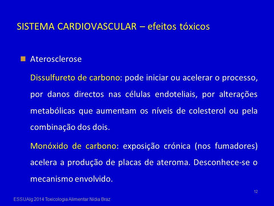 12 Aterosclerose Dissulfureto de carbono: pode iniciar ou acelerar o processo, por danos directos nas células endoteliais, por alterações metabólicas