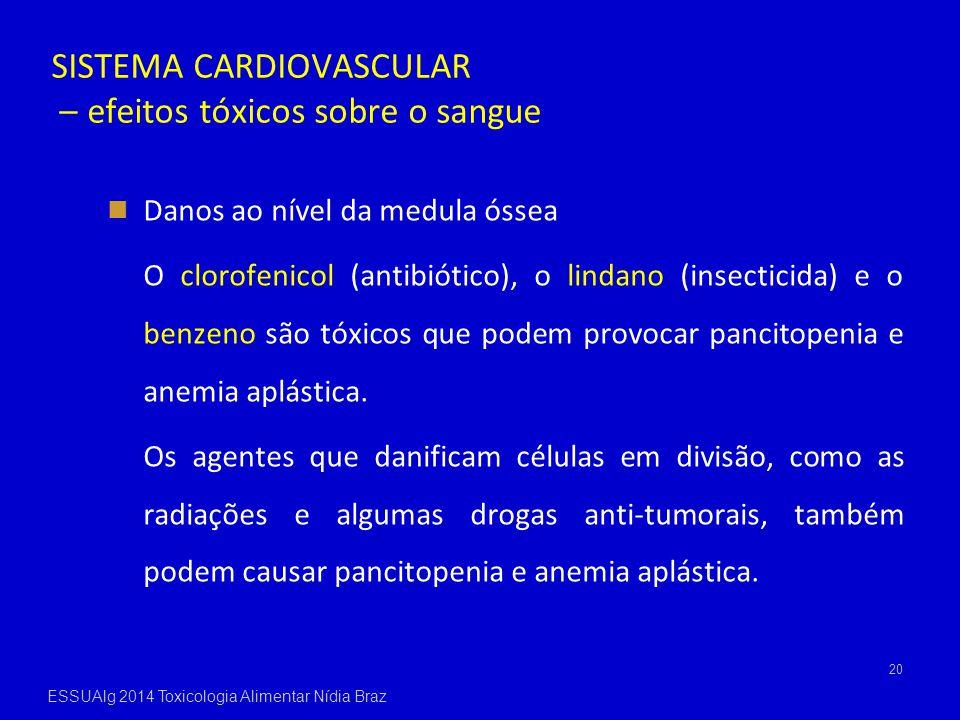 SISTEMA CARDIOVASCULAR – efeitos tóxicos sobre o sangue Danos ao nível da medula óssea O clorofenicol (antibiótico), o lindano (insecticida) e o benze