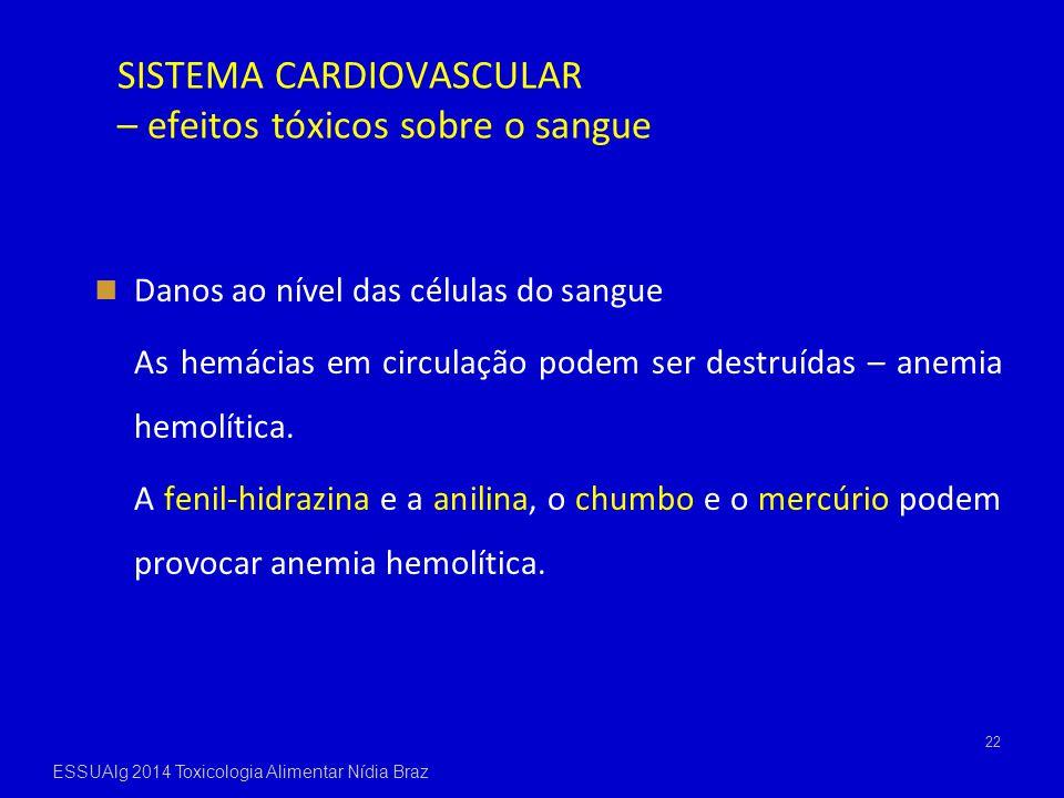 SISTEMA CARDIOVASCULAR – efeitos tóxicos sobre o sangue Danos ao nível das células do sangue As hemácias em circulação podem ser destruídas – anemia h