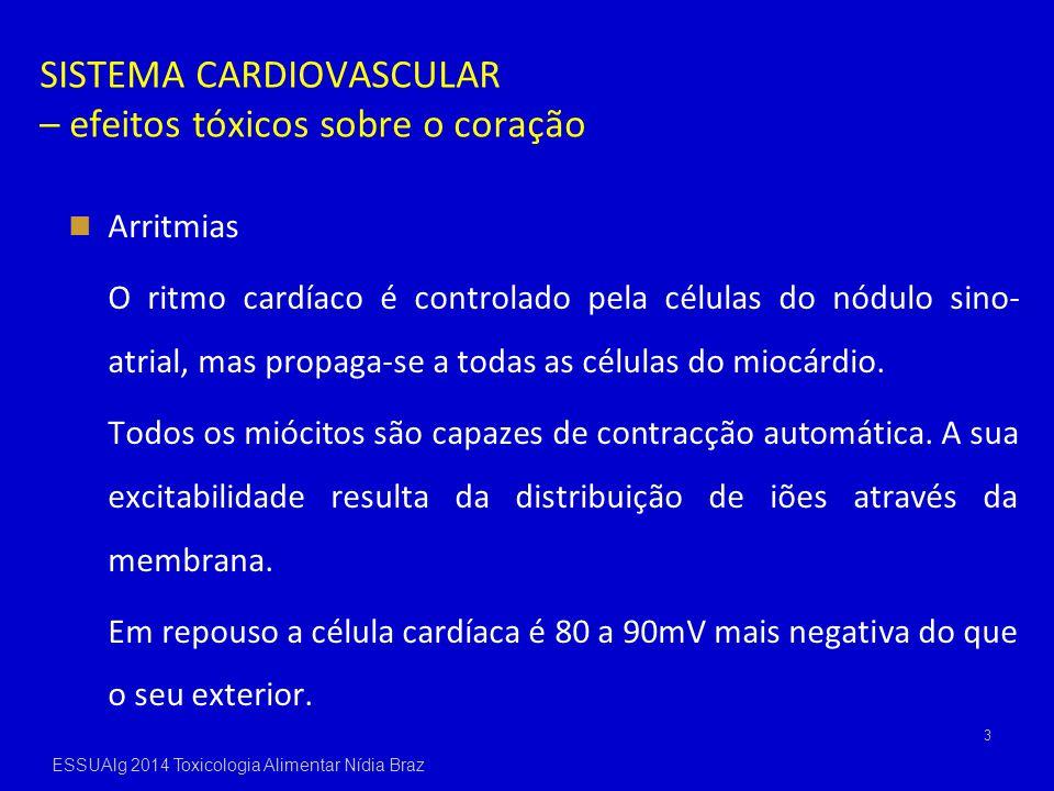 SISTEMA CARDIOVASCULAR – efeitos tóxicos sobre o coração Arritmias O ritmo cardíaco é controlado pela células do nódulo sino- atrial, mas propaga-se a