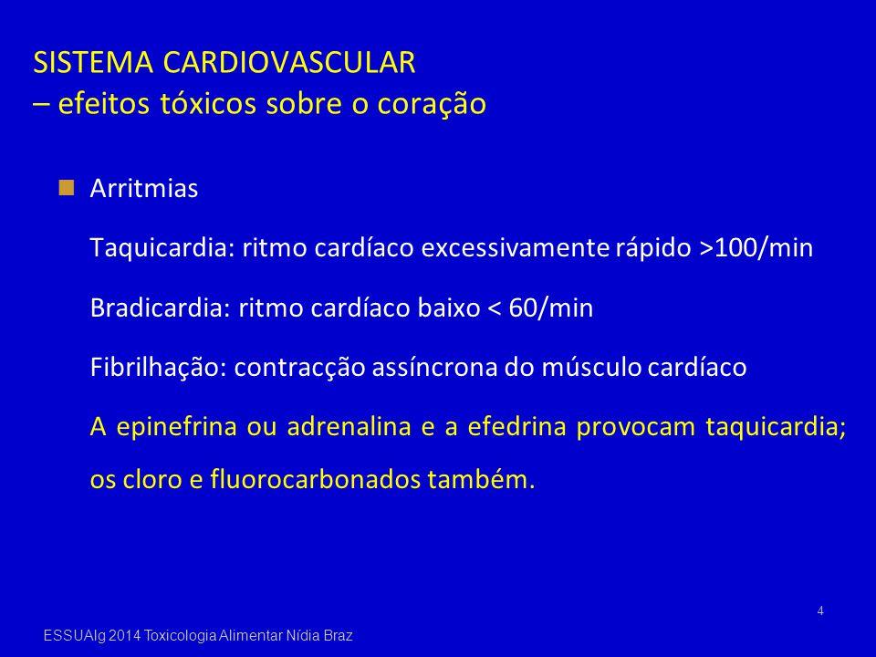 SISTEMA CARDIOVASCULAR – efeitos tóxicos sobre o coração Arritmias Taquicardia: ritmo cardíaco excessivamente rápido >100/min Bradicardia: ritmo cardí