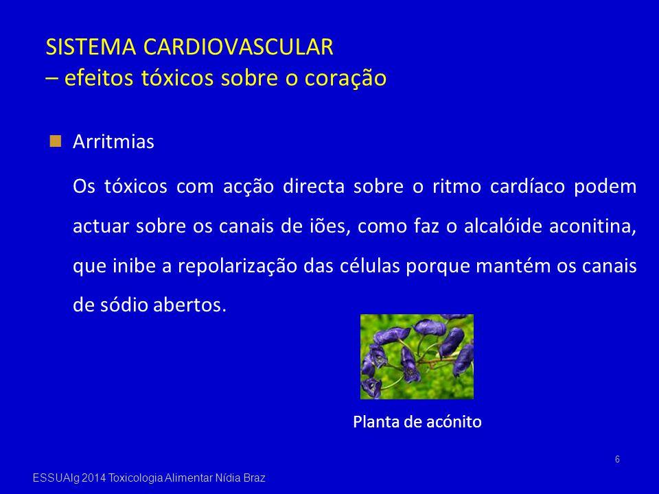 SISTEMA CARDIOVASCULAR – efeitos tóxicos sobre o coração Arritmias Os tóxicos com acção directa sobre o ritmo cardíaco podem actuar sobre os canais de