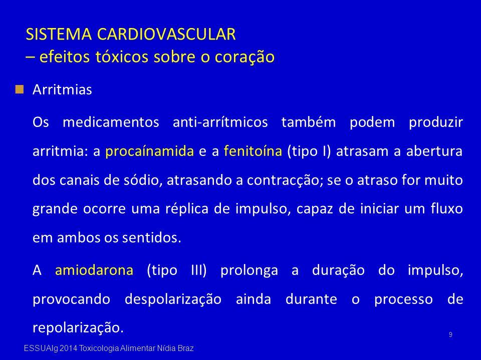 SISTEMA CARDIOVASCULAR – efeitos tóxicos sobre o coração Arritmias Os medicamentos anti-arrítmicos também podem produzir arritmia: a procaínamida e a