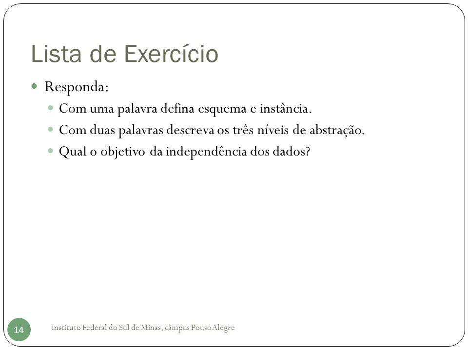 Lista de Exercício Instituto Federal do Sul de Minas, câmpus Pouso Alegre 14 Responda: Com uma palavra defina esquema e instância. Com duas palavras d