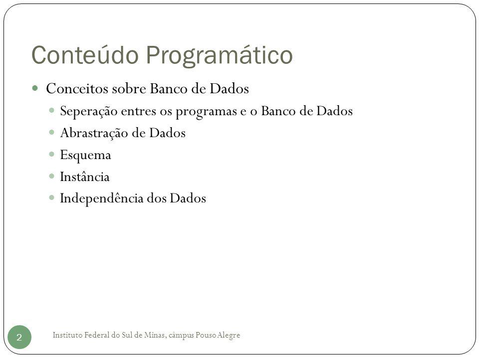 Conteúdo Programático Conceitos sobre Banco de Dados Seperação entres os programas e o Banco de Dados Abrastração de Dados Esquema Instância Independência dos Dados Instituto Federal do Sul de Minas, câmpus Pouso Alegre 2