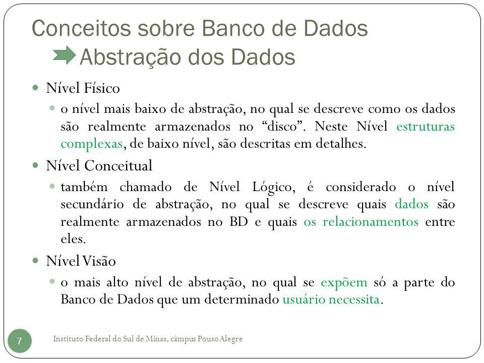 Conceitos sobre Banco de Dados Abstração dos Dados Instituto Federal do Sul de Minas, câmpus Pouso Alegre 7 Nível Físico o nível mais baixo de abstraç