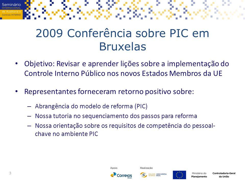 2009 Conferência sobre PIC em Bruxelas Objetivo: Revisar e aprender lições sobre a implementação do Controle Interno Público nos novos Estados Membros da UE Representantes forneceram retorno positivo sobre: – Abrangência do modelo de reforma (PIC) – Nossa tutoria no sequenciamento dos passos para reforma – Nossa orientação sobre os requisitos de competência do pessoal- chave no ambiente PIC 3
