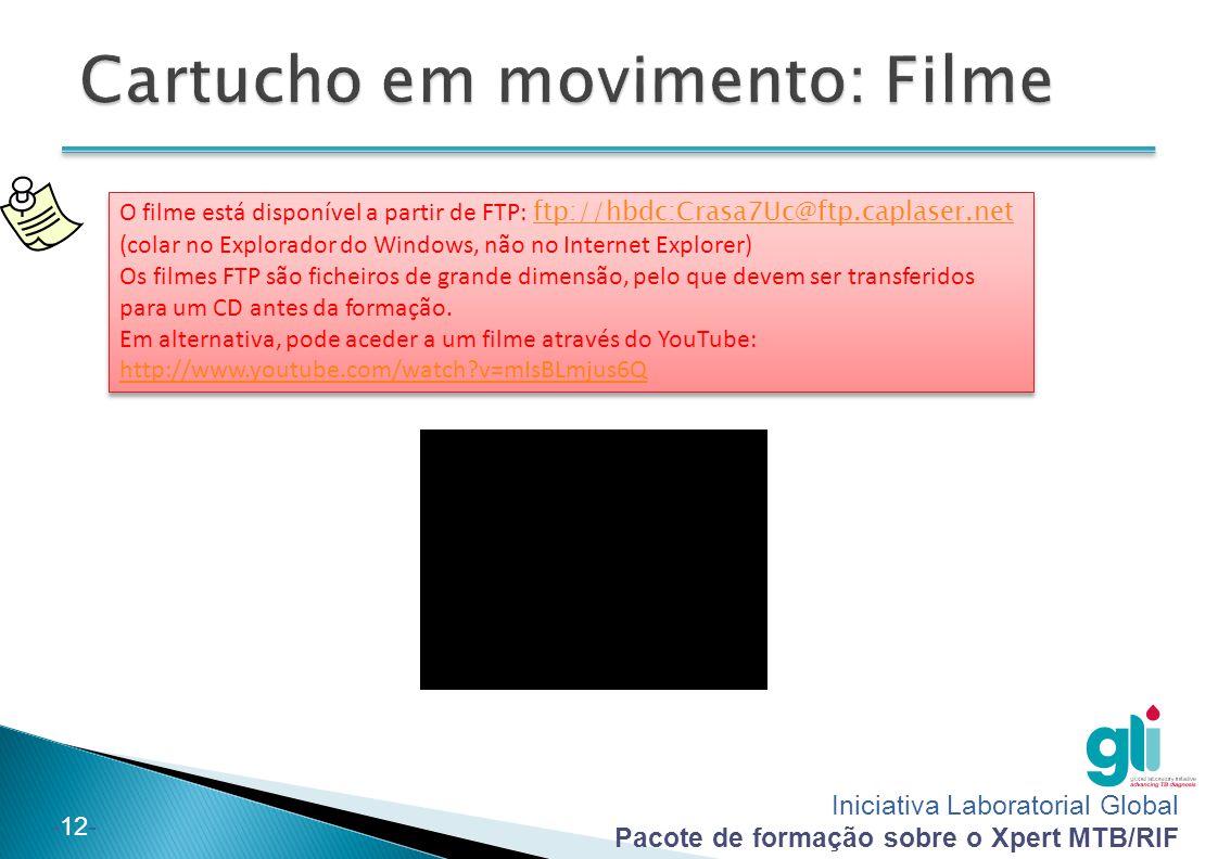 Iniciativa Laboratorial Global Pacote de formação sobre o Xpert MTB/RIF -12- O filme está disponível a partir de FTP: ftp://hbdc:Crasa7Uc@ftp.caplaser.net (colar no Explorador do Windows, não no Internet Explorer) ftp://hbdc:Crasa7Uc@ftp.caplaser.net Os filmes FTP são ficheiros de grande dimensão, pelo que devem ser transferidos para um CD antes da formação.