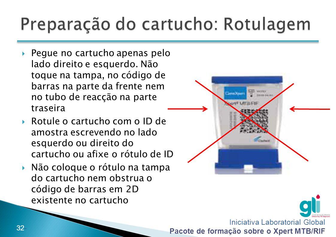 Iniciativa Laboratorial Global Pacote de formação sobre o Xpert MTB/RIF -32-  Pegue no cartucho apenas pelo lado direito e esquerdo. Não toque na tam