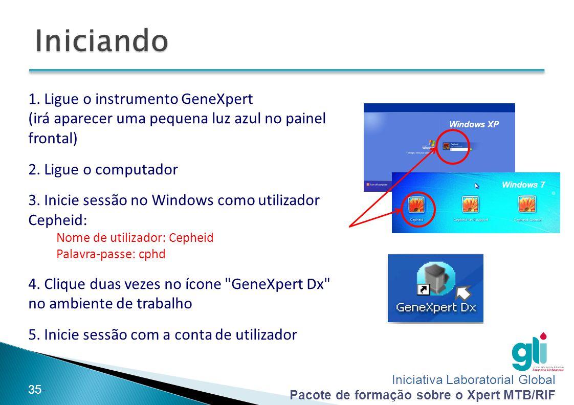 Iniciativa Laboratorial Global Pacote de formação sobre o Xpert MTB/RIF -35- 1. Ligue o instrumento GeneXpert (irá aparecer uma pequena luz azul no pa