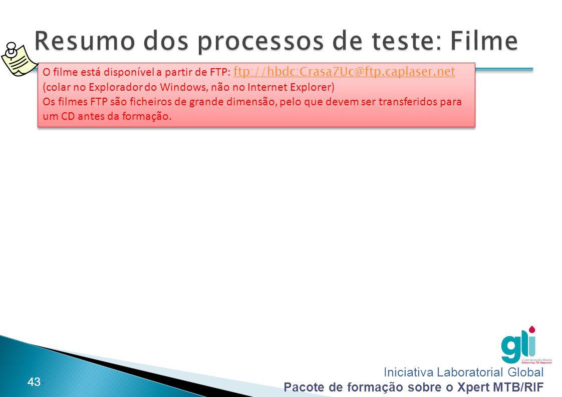 Iniciativa Laboratorial Global Pacote de formação sobre o Xpert MTB/RIF -43- O filme está disponível a partir de FTP: ftp://hbdc:Crasa7Uc@ftp.caplaser.net (colar no Explorador do Windows, não no Internet Explorer) ftp://hbdc:Crasa7Uc@ftp.caplaser.net Os filmes FTP são ficheiros de grande dimensão, pelo que devem ser transferidos para um CD antes da formação.