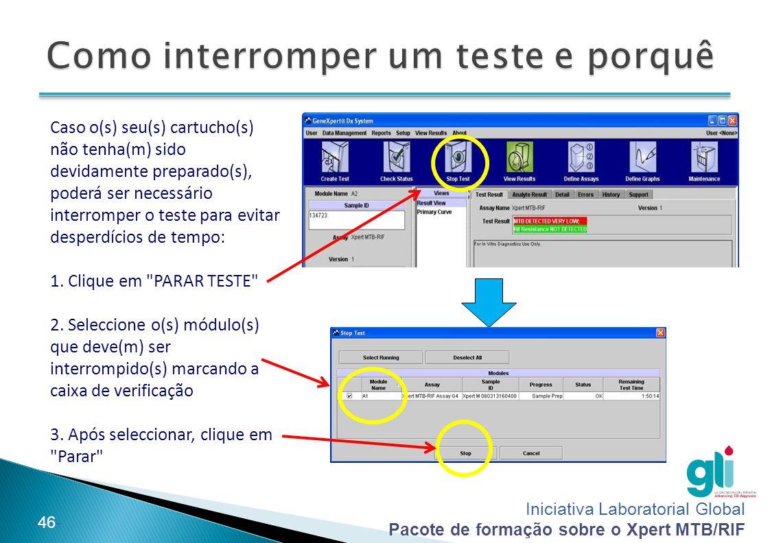 Iniciativa Laboratorial Global Pacote de formação sobre o Xpert MTB/RIF -46- Caso o(s) seu(s) cartucho(s) não tenha(m) sido devidamente preparado(s), poderá ser necessário interromper o teste para evitar desperdícios de tempo: 1.