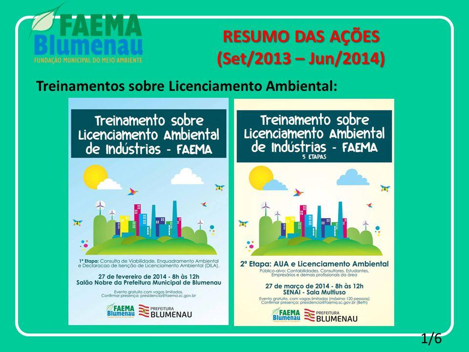 RESUMO DAS AÇÕES (Set/2013 – Jun/2014) 1/6 Treinamentos sobre Licenciamento Ambiental: