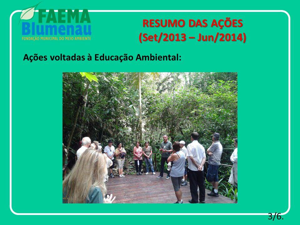 RESUMO DAS AÇÕES (Set/2013 – Jun/2014) 3/6. Ações voltadas à Educação Ambiental: