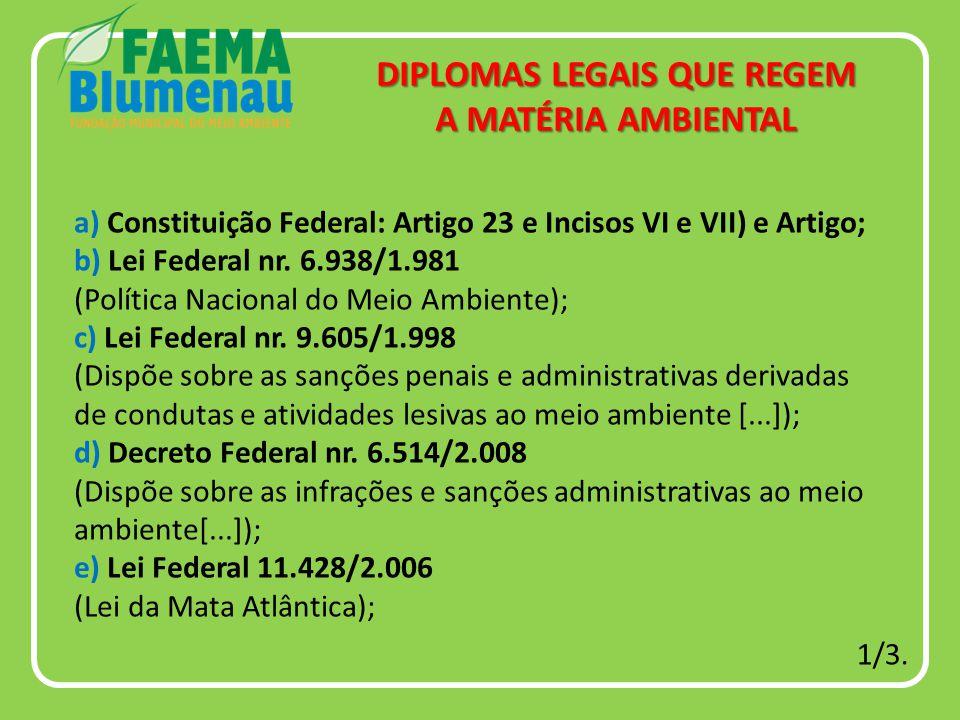 a) Constituição Federal: Artigo 23 e Incisos VI e VII) e Artigo; b) Lei Federal nr.