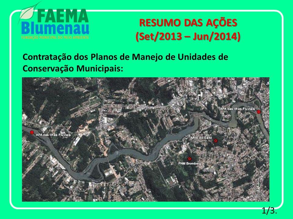 Contratação dos Planos de Manejo de Unidades de Conservação Municipais: RESUMO DAS AÇÕES (Set/2013 – Jun/2014) 1/3.