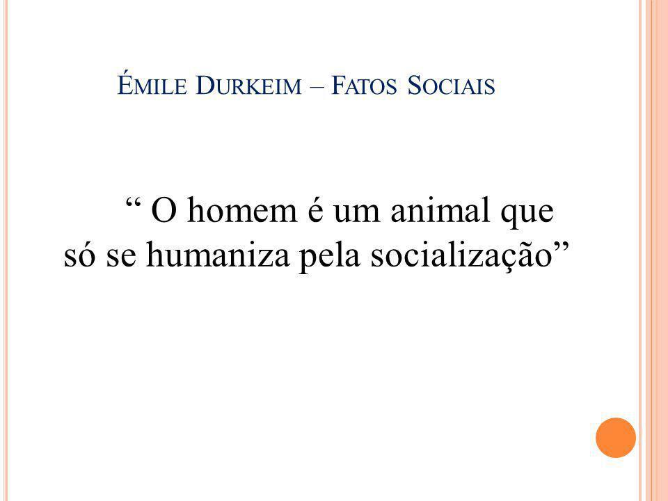 """É MILE D URKEIM – F ATOS S OCIAIS """" O homem é um animal que só se humaniza pela socialização"""""""