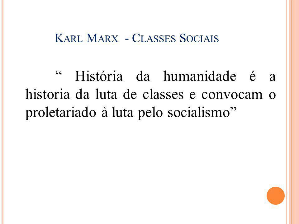 """K ARL M ARX - C LASSES S OCIAIS """" História da humanidade é a historia da luta de classes e convocam o proletariado à luta pelo socialismo"""""""