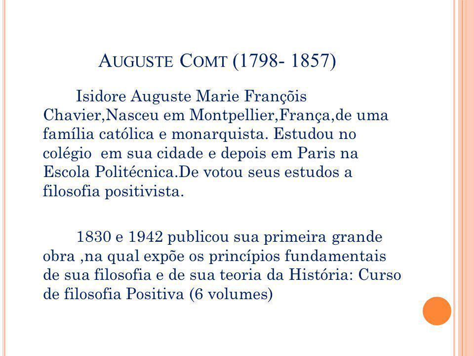 A UGUSTE C OMT (1798- 1857) A sociedade funcionava como um organismo, no qual cada parte tem uma função específica, contribuindo para o funcionamento do todo