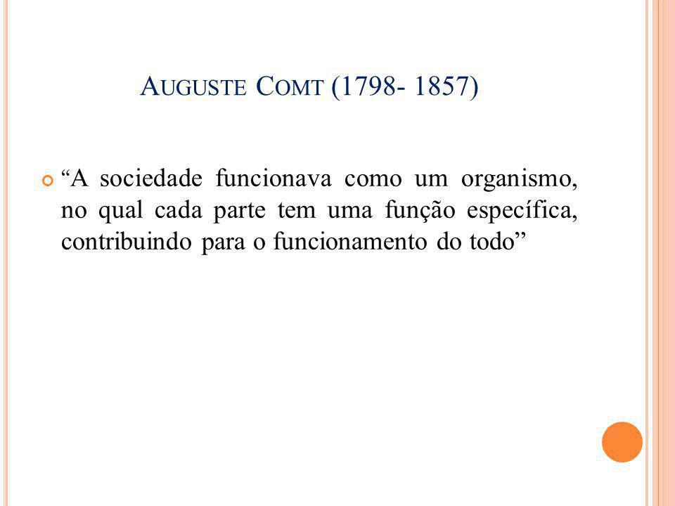 """A UGUSTE C OMT (1798- 1857) """" A sociedade funcionava como um organismo, no qual cada parte tem uma função específica, contribuindo para o funcionament"""