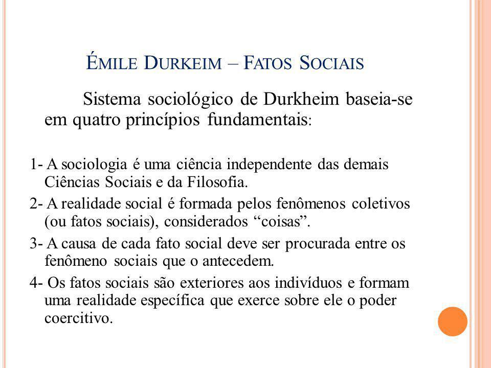 É MILE D URKEIM – F ATOS S OCIAIS Sistema sociológico de Durkheim baseia-se em quatro princípios fundamentais : 1- A sociologia é uma ciência independ