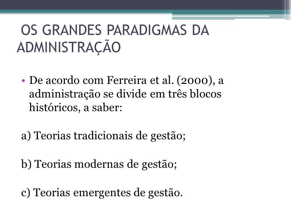 OS GRANDES PARADIGMAS DA ADMINISTRAÇÃO De acordo com Ferreira et al. (2000), a administração se divide em três blocos históricos, a saber: a) Teorias