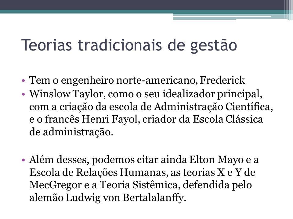Teorias tradicionais de gestão Tem o engenheiro norte-americano, Frederick Winslow Taylor, como o seu idealizador principal, com a criação da escola d