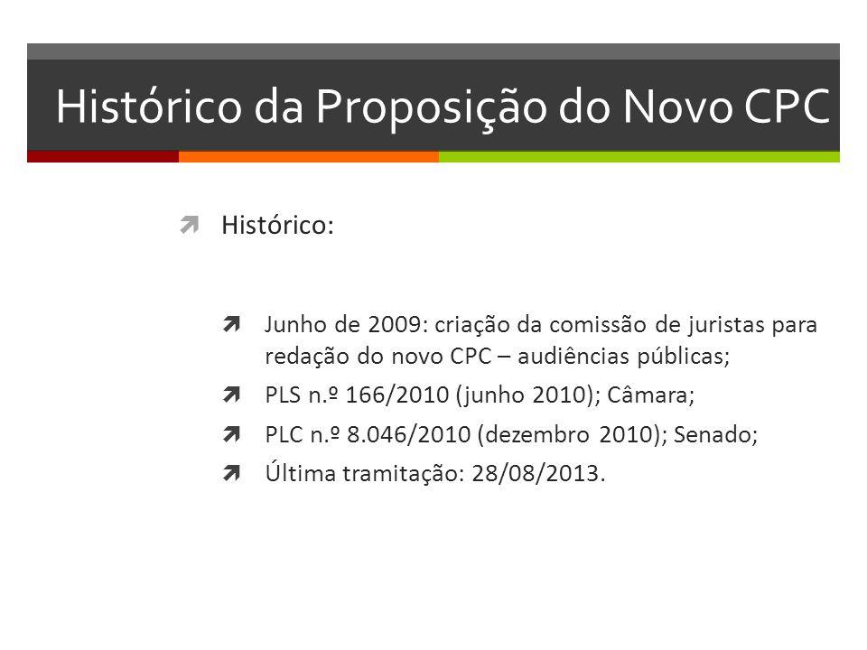 Histórico da Proposição do Novo CPC  Histórico:  Junho de 2009: criação da comissão de juristas para redação do novo CPC – audiências públicas;  PL