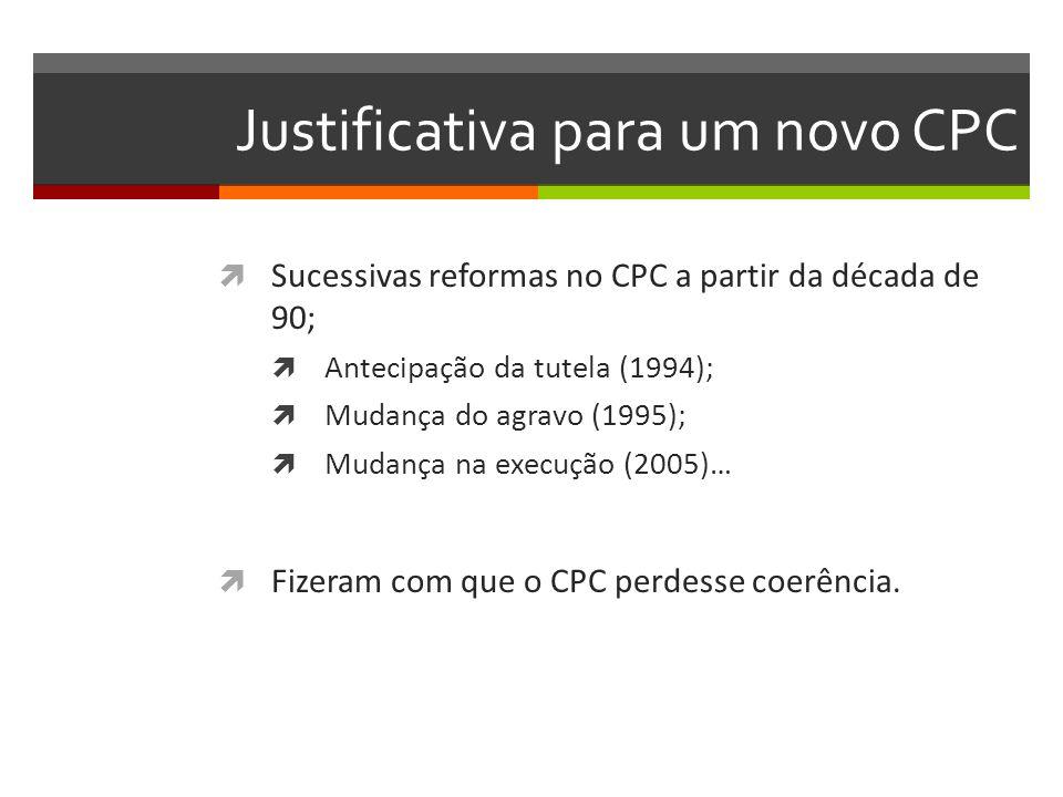 Justificativa para um novo CPC  Sucessivas reformas no CPC a partir da década de 90;  Antecipação da tutela (1994);  Mudança do agravo (1995);  Mu