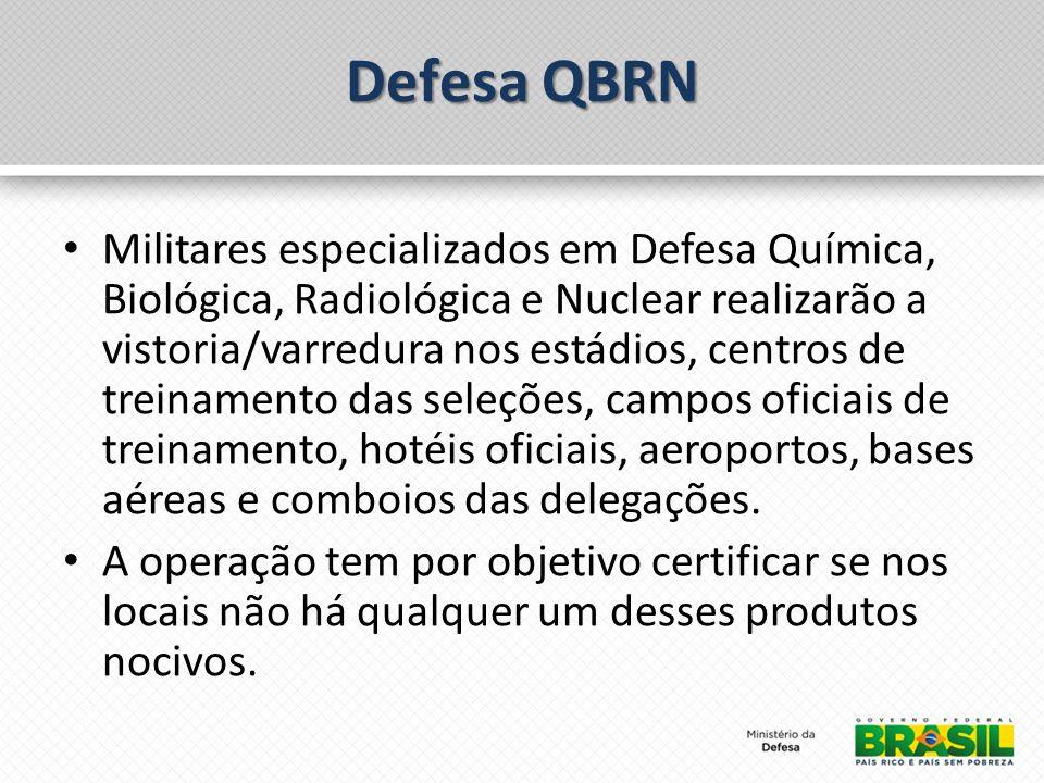 Defesa QBRN Militares especializados em Defesa Química, Biológica, Radiológica e Nuclear realizarão a vistoria/varredura nos estádios, centros de treinamento das seleções, campos oficiais de treinamento, hotéis oficiais, aeroportos, bases aéreas e comboios das delegações.