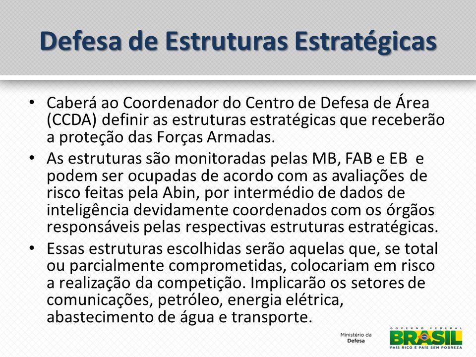 Caberá ao Coordenador do Centro de Defesa de Área (CCDA) definir as estruturas estratégicas que receberão a proteção das Forças Armadas. As estruturas