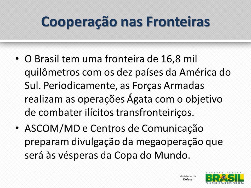 Cooperação nas Fronteiras O Brasil tem uma fronteira de 16,8 mil quilômetros com os dez países da América do Sul. Periodicamente, as Forças Armadas re