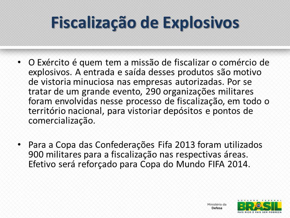 Fiscalização de Explosivos O Exército é quem tem a missão de fiscalizar o comércio de explosivos.