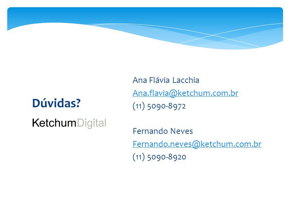 Dúvidas?  Ana Flávia Lacchia  Ana.flavia@ketchum.com.br Ana.flavia@ketchum.com.br  (11) 5090-8972  Fernando Neves  Fernando.neves@ketchum.com.br