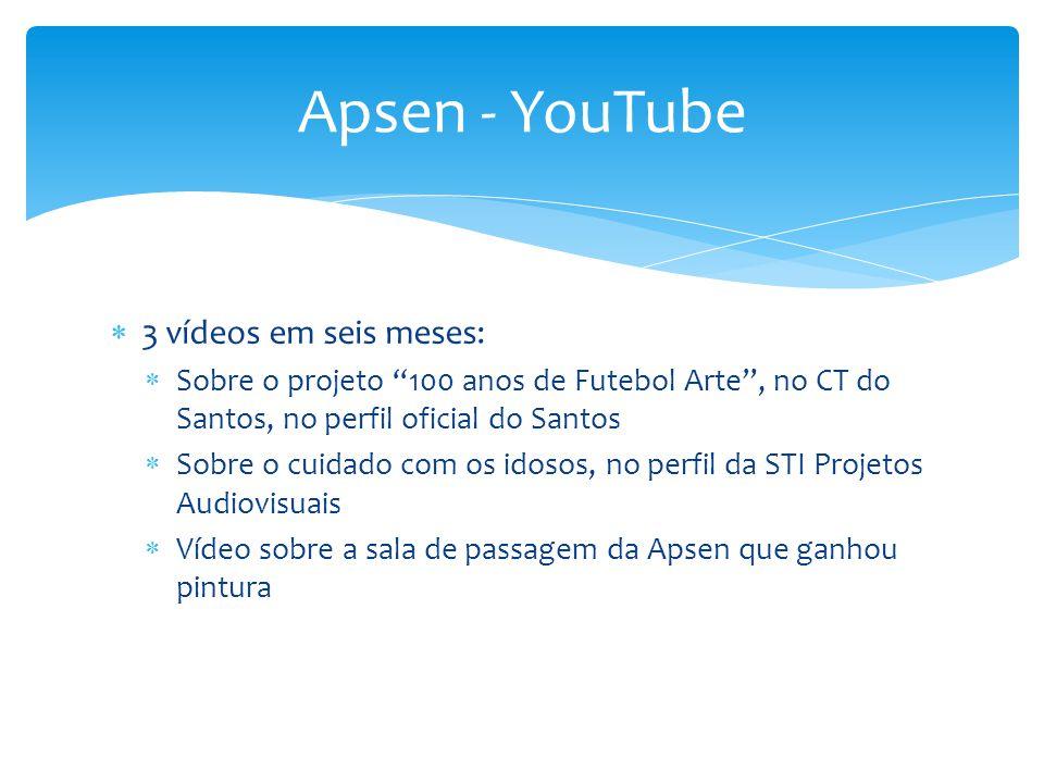 """ 3 vídeos em seis meses:  Sobre o projeto """"100 anos de Futebol Arte"""", no CT do Santos, no perfil oficial do Santos  Sobre o cuidado com os idosos,"""