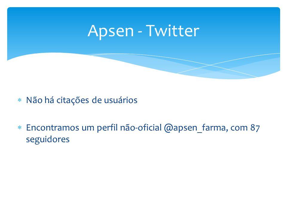  Não há citações de usuários  Encontramos um perfil não-oficial @apsen_farma, com 87 seguidores Apsen - Twitter