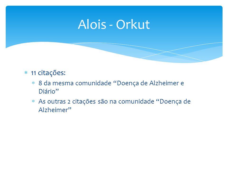""" 11 citações:  8 da mesma comunidade """"Doença de Alzheimer e Diário""""  As outras 2 citações são na comunidade """"Doença de Alzheimer"""" Alois - Orkut"""