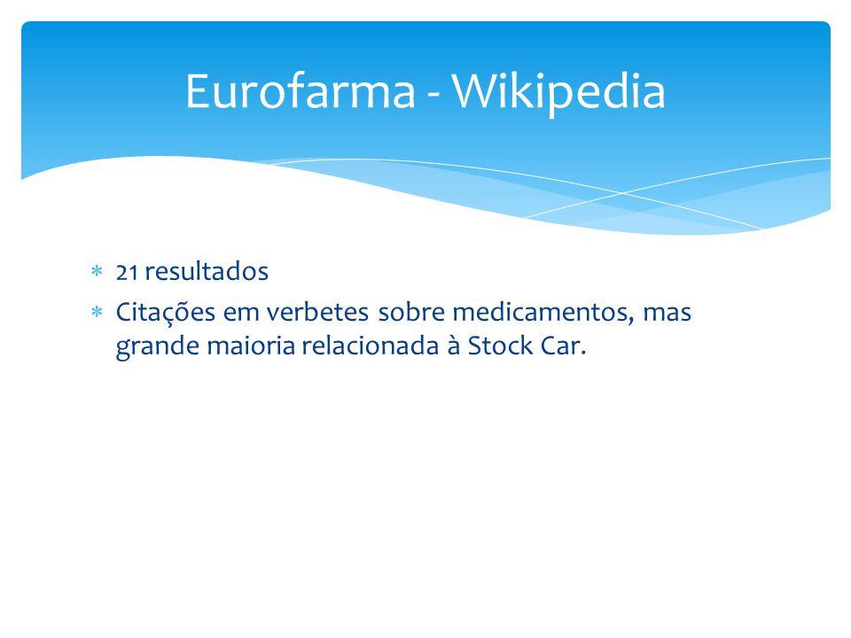  21 resultados  Citações em verbetes sobre medicamentos, mas grande maioria relacionada à Stock Car. Eurofarma - Wikipedia