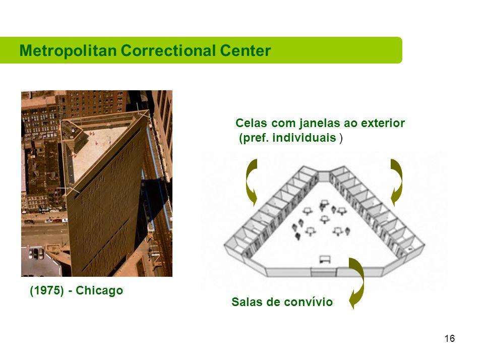 16 Metropolitan Correctional Center Salas de convívio Celas com janelas ao exterior (pref.