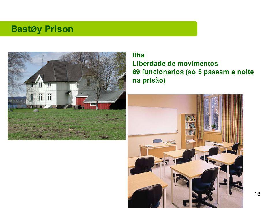18 Bast Ø y Prison Ilha Liberdade de movimentos 69 funcionarios (só 5 passam a noite na prisão)