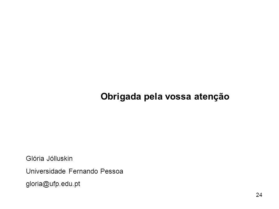 24 Obrigada pela vossa atenção Glória Jólluskin Universidade Fernando Pessoa gloria@ufp.edu.pt