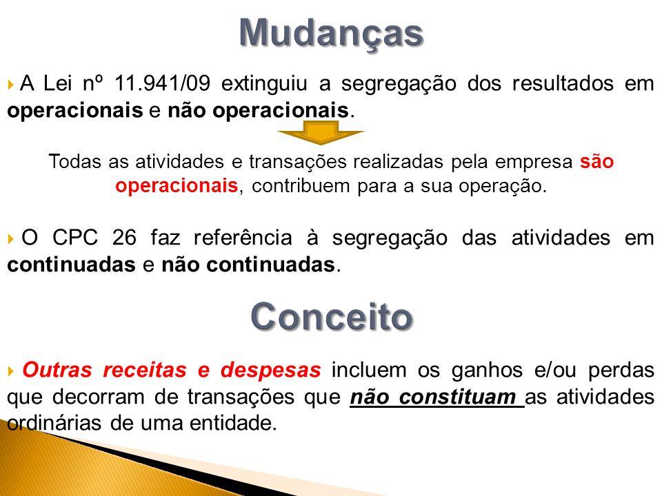  A Lei nº 11.941/09 extinguiu a segregação dos resultados em operacionais e não operacionais. Todas as atividades e transações realizadas pela empres