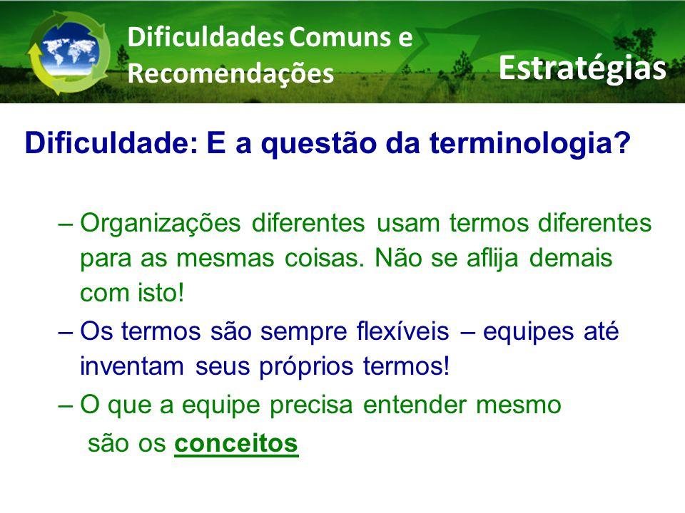 Dificuldades Comuns e Recomendações Dificuldade: E a questão da terminologia.