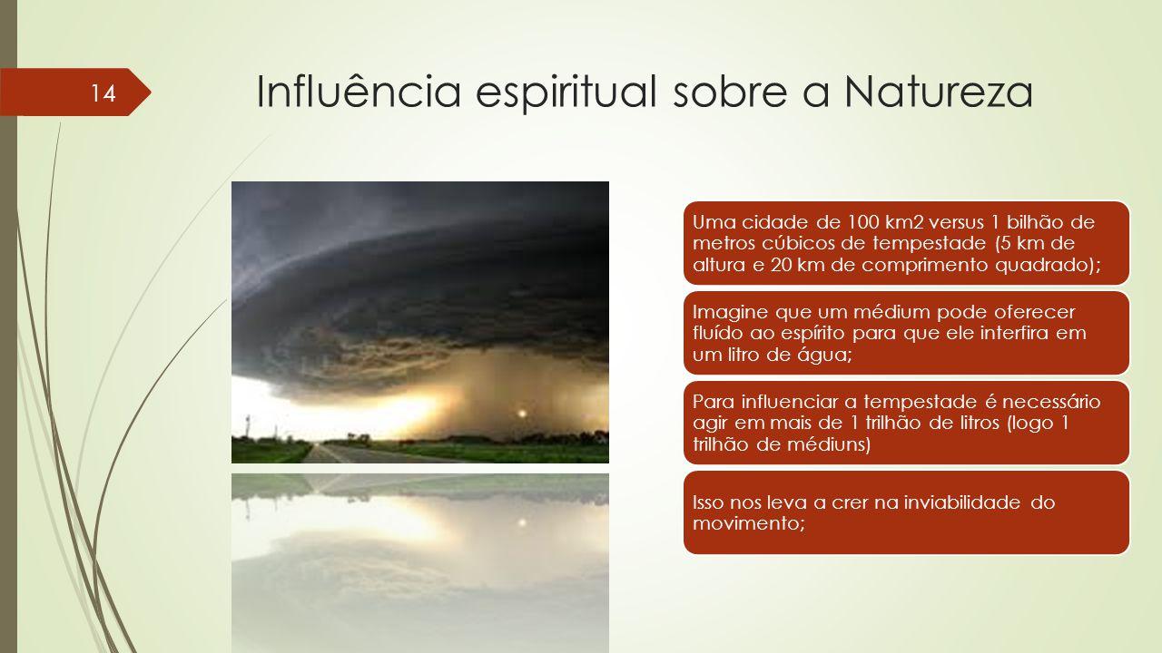 Influência espiritual sobre a Natureza Uma cidade de 100 km2 versus 1 bilhão de metros cúbicos de tempestade (5 km de altura e 20 km de comprimento quadrado); Imagine que um médium pode oferecer fluído ao espírito para que ele interfira em um litro de água; Para influenciar a tempestade é necessário agir em mais de 1 trilhão de litros (logo 1 trilhão de médiuns) Isso nos leva a crer na inviabilidade do movimento; 14