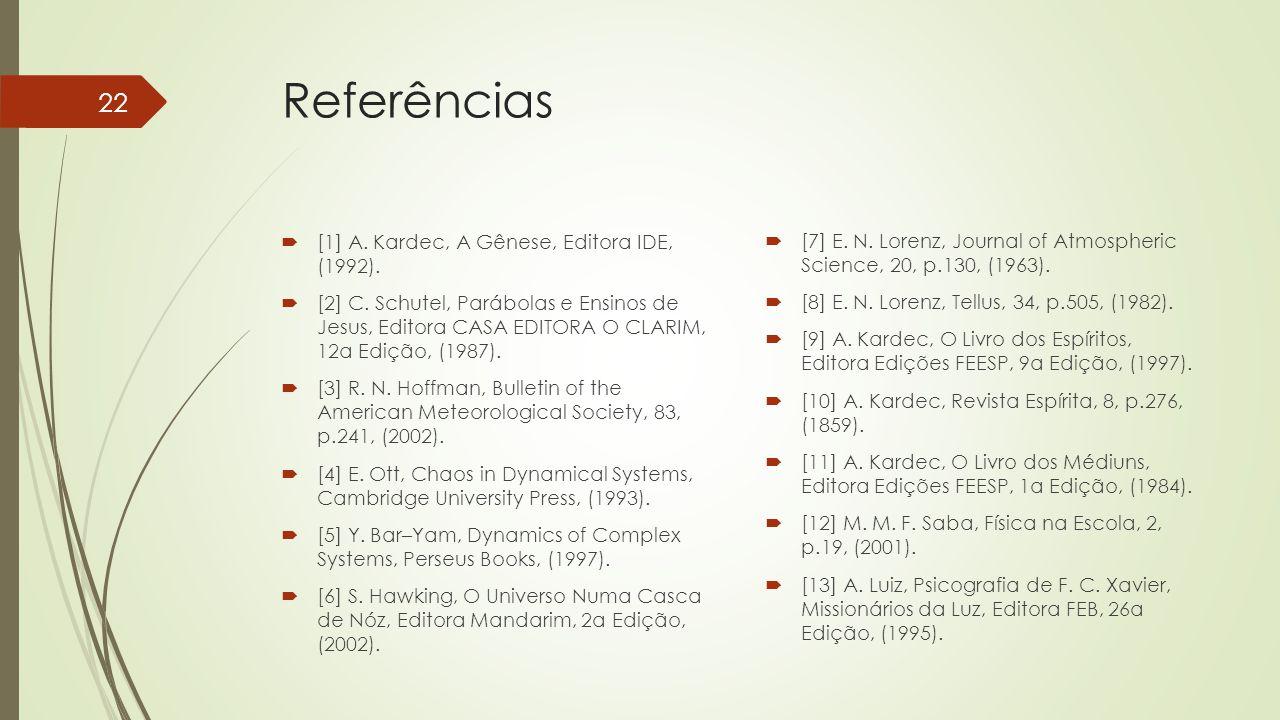 Referências  [1] A. Kardec, A Gênese, Editora IDE, (1992).  [2] C. Schutel, Parábolas e Ensinos de Jesus, Editora CASA EDITORA O CLARIM, 12a Edição,