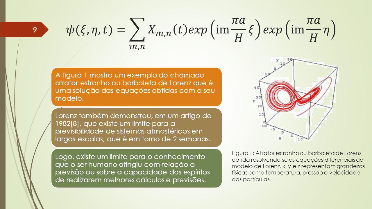 A figura 1 mostra um exemplo do chamado atrator estranho ou borboleta de Lorenz que é uma solução das equações obtidas com o seu modelo. Lorenz também